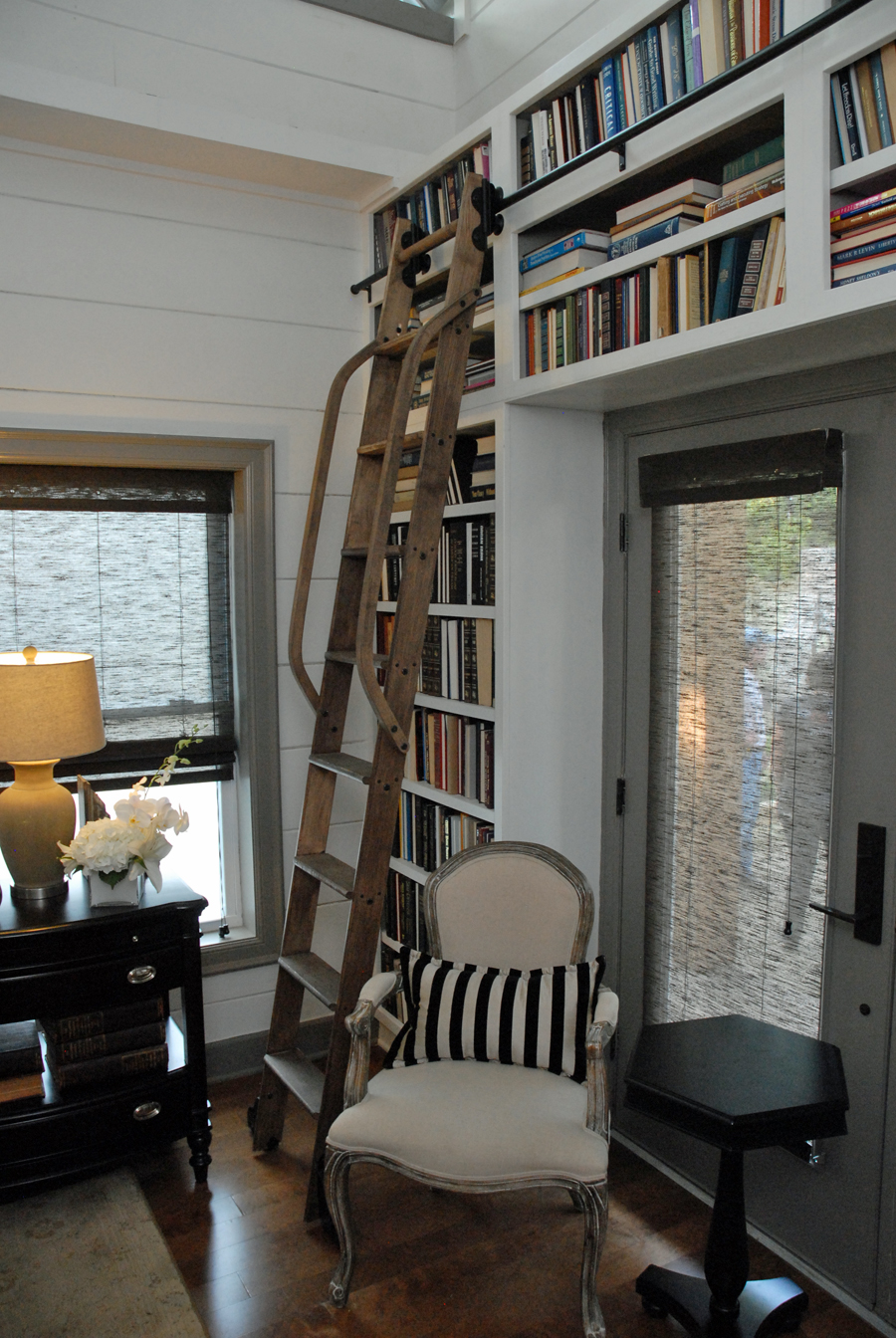 Clever Ways Use Rolling Library Ladder All Over The House Custom Cabinet And Bookcase