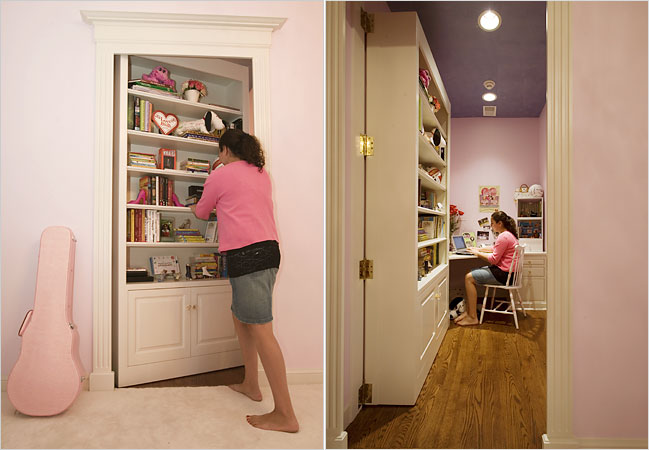 Cami Beghou swings open a bookcase to reveal her study area.