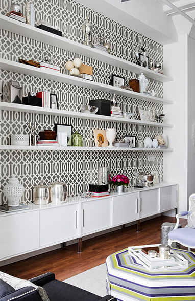 Bookcases with Wallpaper