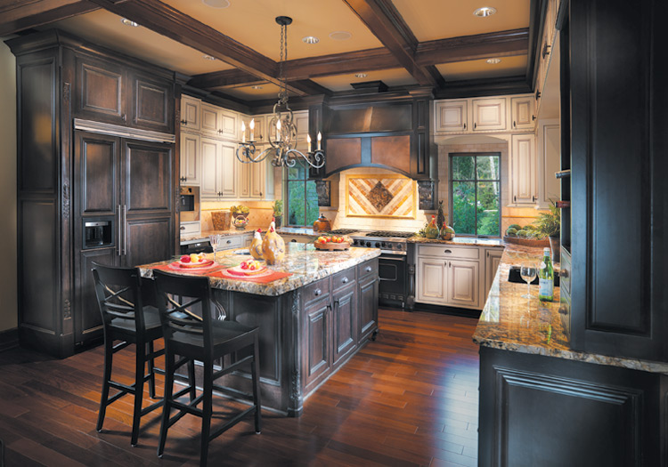 Mount Vernon Kitchen: Dark cabinetry in Cherry with Espresso stain; Light cabinetry in Maple with Creme Brule paint