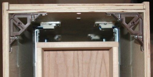 Top back view of base cabinet with drawers