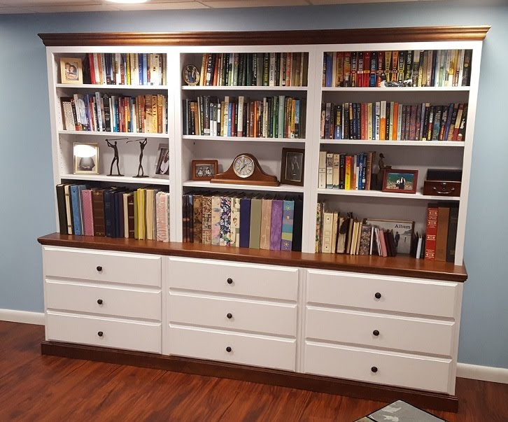 Woodcraft wall unit with drawers and hutches