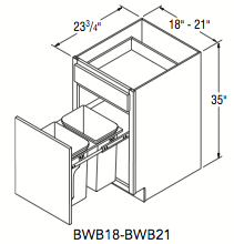 Aristokraft Wood Base Wastebasket 21 Quot W X 35 Quot H X 23 75 Quot D
