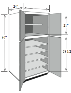 "BBCA2484: Kitchen Base Utility Cabinet with Shelves, 24""w x 84""h x 24""d"